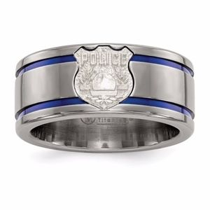 Titanium Blue Anodized With SS Police Shield Tag